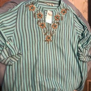 Soft Surroundings 3X beaded tunic new with tags